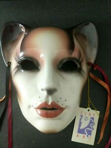 Clay Art Mask (The About Face Line) Cat Woman Mardi Gras Decorative Wall Decor