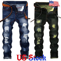 Trendy Men Zipper Retro Stretchy Skinny Distressed Pants Knee Ripped Denim Jeans