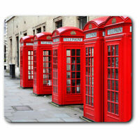 Computer Mouse Mat - Red Telephone Boxes British Office Gift #14477