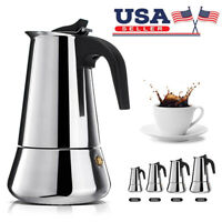 Stainless Steel Wide Bottom Home Coffee Pot Moka Espresso Maker Percolator Stove