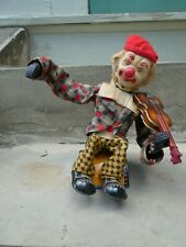 Vintage Battery Operated Toy 1960s Alps Clown Tin Litho with Violin Fiddle