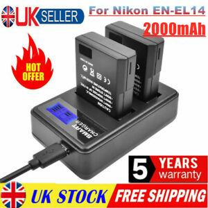 2X EN-EL14 Battery + LCD Dual Charger Replace For Nikon D3300 D3200 D3100 D5100