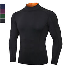 Mens Compression Shirt Mock Neck Breathable Quick Drying Long Sleeved Sportswear