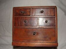 ANTIQUE MAHOGANY  1880 DOLLS HOUSE CHEST OF DRAWS WITH INSCRIPTION