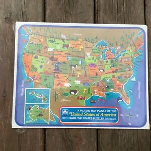 Sealed Vintage 1968 Golden Picture Map Tray Puzzle the United States of America