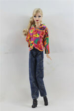 2 PCS Set Fashion Outfit  Colorful Top+jean pants Suit FOR Barbie Doll Clothes