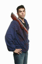 Morbid Bloody Machete Weapon Victim Adult Blue Hoodie Costume Jacket 2XL