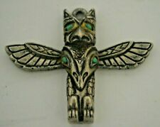 "Vintage Winged Totem Pole Pendant 2"" high Wingspread 2.5"""
