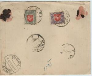 Lithuania 1921 cover with 2 stamps, registered KAUNAS to LARISSA/Greece