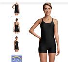 Ladies Lands' End Chlorine Resistant Boy Short One Piece Swimsuit Black Size 10