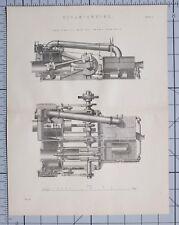 1868 Print moteur à vapeur horizontale Marine Trunk moteurs vue latérale