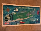 """RARE Long Island, NY Antique American Hand Hooked Rug 65"""" x 33"""" Nautical Signed"""