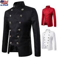Men's Double Breasted Jacket Vintage Rock Victorian Gothic Coat Steampunk Blazer