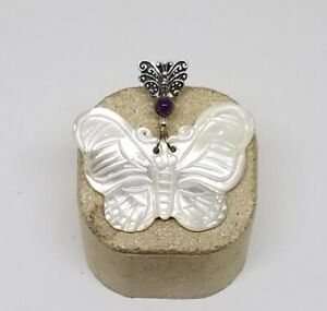 """Sajen Sterling Silver Amethyst Carved Mother of Pearl Butterfly Pendant ~ 1 1/2"""""""