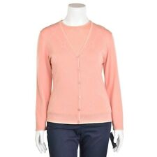 Escada 2Pc Peach Argyle Beaded Wool/Cashmere Cardigan & Top Twinset sz 40/10 US