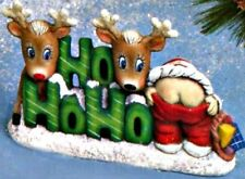 CERAMIC BISQUE CHRISTMAS HO HO HO SANTA WITH REINDEER - READY TO PAINT