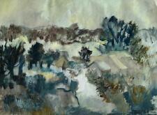 Walter GUTBROD 1908-1998 Ludwigsburg/HUILE/trouble paysage avec maisons 1988