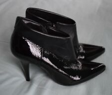 Dune Black Patent Leather Ankle Zip Cuff Stiletto Boots Size 4, 37 Round Pointed