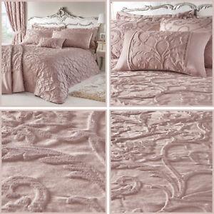 Bentley Blush Pink Bed Duvet Cover Damask Jacquard Quilt Linen Bedding Set