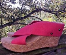 MERONA STUDDED CORK Pink WEDGES Strappy MULES High Heels WOMENS Shoes SIZE 8