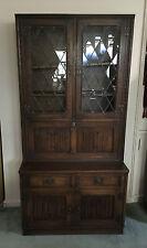 Antique Oak Leadlight Bookcase w Secretaire Desk!