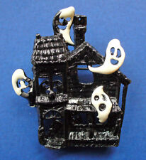 BUY1&GET1@50%~PIN Halloween HAUNTED HOUSE Black Enamel WHITE GHOSTS Vtg Holiday