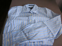 NEW! Lands End WOMENS L/S NO IRON PINPOINT OXFORD BLUE STRIPE BLOUSE SIZE 12