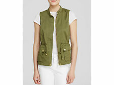 Bagatelle Vest Army Green Twill Blouson Full Zip Women' Size Small NWT $85