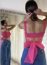 Zara Fuchsia Pink Crop Top With Organza Bow Blouse 2488/006 BNWT Large L 12