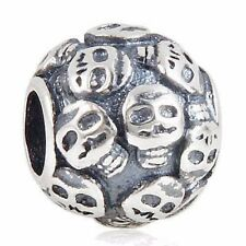 SKULL PATTERNED Charm Bead 925 Sterling Silver