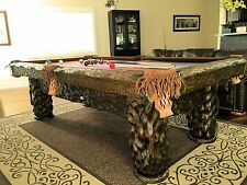 Wilderness 8' Hand-Crafted Rustic Log Pool Table Billiard for Log Home / Cabin