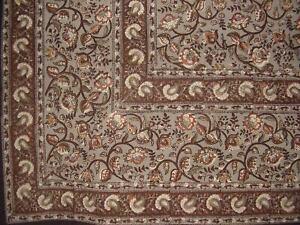 "Block Print Floral Square Cotton Tablecloth 60"" x 60"" Gray"