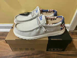 BRAND NEW Hey Dude Shoes Men's Wally Patriotic American Flag Off-White Size 10