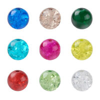 400pcs Colorful Crackle Glass Beads Round Smooth Loose Bead Beading Craft 4~10mm