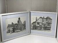 Contemporary Pair Of Pen & Ink Drawings By  Artist Gerald Lip Signed & Framed