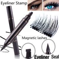 Winged Eyeliner Stamp Makeup Eye Liner Pencil Black Liquid & 4X Magnetic Lashes