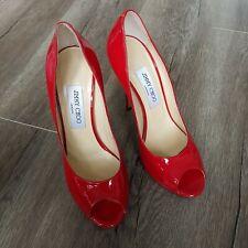 JIMMY CHOO Red Patent Leather Peep-Toe Platform Pump Shoes SIZE EU 38