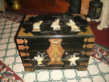 Vintage Chinese Jewelry Box-3 Drawer-Mother Of Pearl Jade-Brass Accents-LQQK