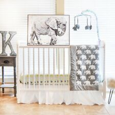 Pam Grace Creations Indie Elephant 6 Piece Crib Bedding Set, Grey/Indie
