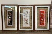 Vtg Set 3 Wood Framed Asian Silk Embroidery Glass Floral Hummingbird Wall Art