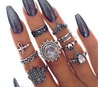 Set of 9 Ring Boho Knuckle Fashion Sliver Heart Love Diamond Thumb Stack Jewelry