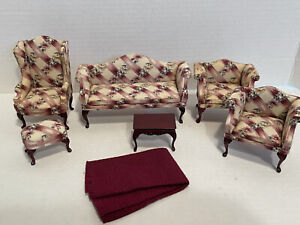 Early BESPAQ Floral Ribbon Weave Parlor Set Dollhouse Miniature 1:12