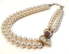 Bijou alliage doré collier intemporel  perles 2 rangs détail petit sac necklace
