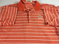 Trophy Club Atlanta Polo Shirt VTG 90s Mens XL Orange Striped Mercerized Cotton