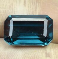 9.55 Ct Natural Indicolite Blue Green Tourmaline Emerald Cut Loose Gem Certified