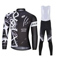 Mens Breathable Cycling Jersey Bike Bicycle Clothing Long Sleeve Suit Bib Pants