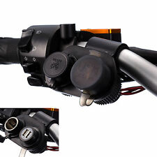 Motorcycle Dual USB Hard Wire Charger + Cigarette Lighter Socket Mount Holder