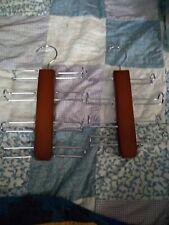 Wooden tie rack lot of 2 hangers for belts, ties, scarves etc