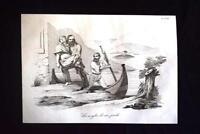 Incisione d'allegoria e satira La morte di Anita Garibaldi Don Pirlone 1851