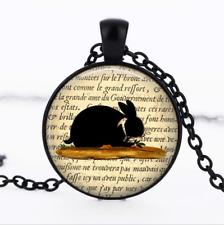 Black Rabbit - Rabbit Black Glass Cabochon Necklace chain Pendant Wholesale